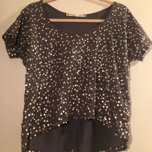 Gray and gold sequin top